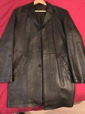 Leather Coat Mens 3/4 Length Zara Black M Medium