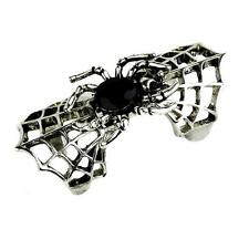 Silver Spider Web & Black Stone Ring Goth Punk Metal Psychobilly Alternative Emo