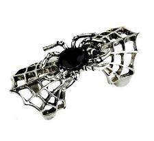 Silver Spider Web & Black Stone Ring Goth Punk Metal Psychobilly Alternative Emo