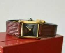 Vintage Cartier Watch Must de Cartier 18k GP Tank Women's Box and Band