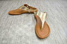**Franco Sarto Grip Metallic Leather Thong Sandals, Women's Size 9.5M, Gold