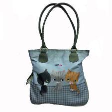 LITTLE MEOW borsa a spalla grigia gattini in tessuto estensibile circa 35x34 cm