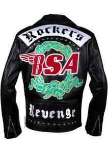BSA GEORGE MICHAEL FAITH ROCKERS REVENGE BIKER BLACK REAL LEATHER JACKET NEW