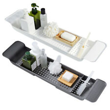 Plastic Bath Caddy Tray Extendable Tub Rack Non-Slip Bathtub Organizer Shelf UK