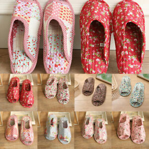 Women Pastoral Fabric Home Cotton Slippers New Warm Breathable Soft-soled Shoes