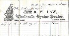 R. W. Law Wholesale Oyster Dealer Billhead Letterhead & Letter Dtd Sept. 1875