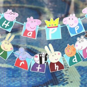Peppa Pig Kids Birthday Flag Banners Bunting Birthday Party Decoration