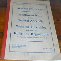 British Railways BR Supplement No 3 to General Appendix Timetables & Rules 1969