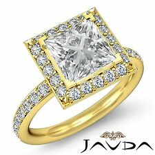 Princess Diamond GIA F VS2 18k Yellow Gold Halo Pre-Set Engagement Ring 2.05ct