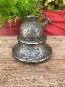 17th Antique Brass Hand Carved Peacock Floral Islamic Persian Mughal Hookah Pot
