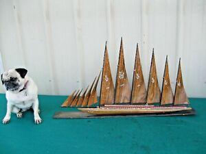 "1960's Vintage Large 33"" Wood Sailboat Ship Model Ayhan Boat Shop Sinop Turkey"