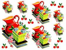 Vintage Image Retro Kitchen Red Pitcher and Cherries Waterslide Decals KI423
