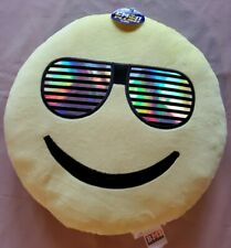 Emoji Plush Pillow Smiley Face with Sun Glasses - 13 inches - Brand New