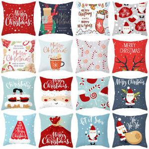 """18"""" Cartoon Christmas Cushion Cover Pillow Case Santa Claus Xmas Bed Home⭐Decor"""