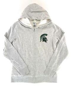 Victoria's Secret PINK Michigan State MSU Spartans Bling Fur Hoodie Medium Gray
