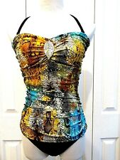FantaSizer One Piece Multi-Color Removable Straps Ruched Size 10