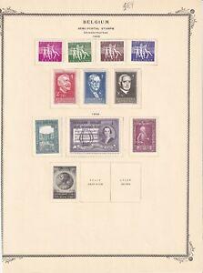 BELGIUM 1955 ALBUM PAGE COLLECTION LOT $84 SCV OG LH L/M VF SEMI POSTAL SETS