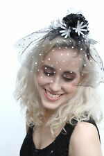 Festive Crown Veiled Head Dress Band Silver Flower Christmas Xmas Party