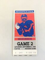 INDIANAPOLIS COLTS TICKET STUB v Denver Broncos 1989 - RARE!