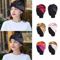 Turban Cap Headband Women Silk Hair Bonnet Head Cover Satin Sleep Bath Hat E4G7