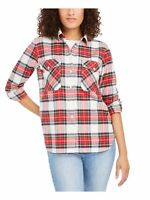 PENDLETON Womens White Plaid Cuffed Collared Button Up Top Size: XS
