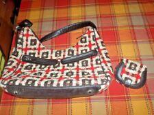 Vera Bradley Purse Handbag Tweed Plaid Red Black w/ PVC and mini saddle wallet