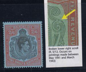 """Bermuda, SG 117be, MHR """"Broken Lower Right Scroll"""" variety"""