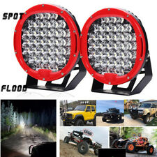 Pair 9'' 370W LED Round Work Light Spot Flood Driving Head Lamps For Car Offroad
