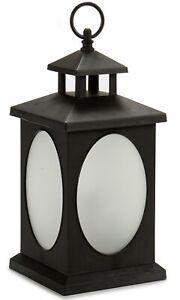 33cm Black Plastic LED Lantern Battery Operated Rotating Flame Swing Effect