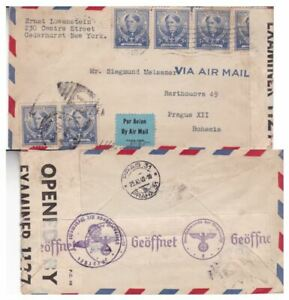 1940 US #872(6) on censored 2x cover to Bohemia Czechoslovakia;famous american*d