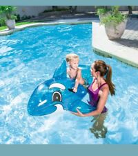 "62"" x 37"" Transparent Inflatable Whale Rider Swim Pool Toy Raft Beach ORIGINAL"
