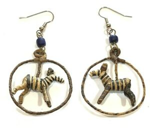 "Zebra Straw Dangling Earrings Handcrafted African Animal 1.25""x 2.75"""