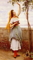 Oil painting eugene de blaas the grape picker neautiful young lady Hand painted