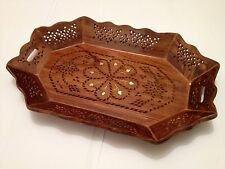 Handmade wooden Carved Brass Inlaid Tray Rosewood