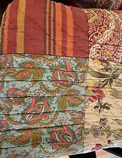 Pottery Barn Patchwork Paisley Queen Quilt & 2 Shams