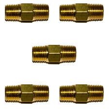 5pc 14 Npt Brass Hex Nipple 14 Male Npt X 14 Male Npt Air Fuel Oil