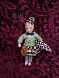 """Vintage/Antique Painted Bisque Dollhouse Boy Doll Great Outfit 4"""" Adorable"""