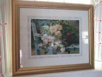 """Eugene H. Cauchois Signed and Framed Print Art 23.5"""" X 19.5"""""""