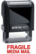FRAGILE MEDIA MAIL text on an IDEAL 4911 Self-inking Rubber Stamp with RED INK