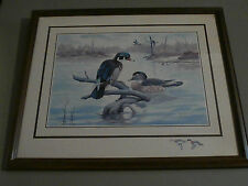 Vintage E Rambow Lithograph Wood Ducks Matted W/Wood Frame