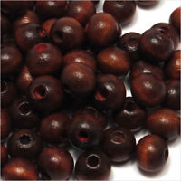 Lot de 100 perles rondes en Bois 8mm Rouge Brun