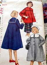 LOVELY VTG 1950s GIRLS COAT Sewing Pattern 12