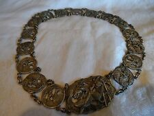 Antique Vintage Deco Sterling Silver Repousse Chinese Export Dragon Buckle Belt
