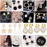 Women Elegant  Rhinestone Ear Stud Crystal Drop Dangle Geometric Earring Jewelry