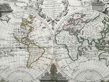 Le Rouge: Original Engraving Map of the World - 1748