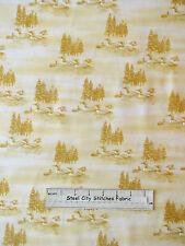 Riverwoods Woods Water & Wildlife Duck Trees Scenic Yellow Cotton Fabric YARD