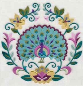 """Large Machine Embroidered Floral Peacock (M8597) Panel - size 7.80"""" x 7.73"""""""
