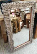 100cm x 60cm Natural Kubu Grey Wicker Rectangular Mirror