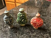 Set of 3 Chines Cinnabar Blue Green Red Carved Scenic Snuff Bottles