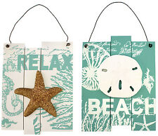Set of 2 BEACH Starfish RELAX Sand Dollar Aqua Wood Wall Plaques Coastal Decor